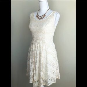 Mossimo White Lace Sleeveless Fit N Flare Dress